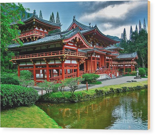 Byodo-in Temple #0026 Wood Print