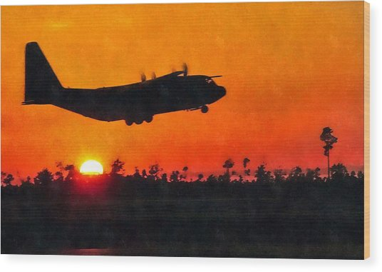 C-130 Sunset Wood Print