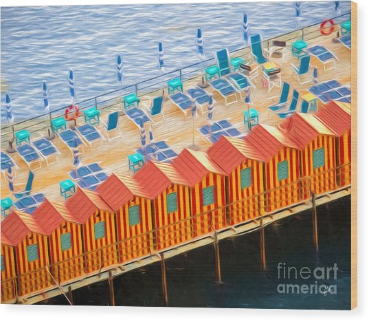 Cabanas Of Sorrento Wood Print