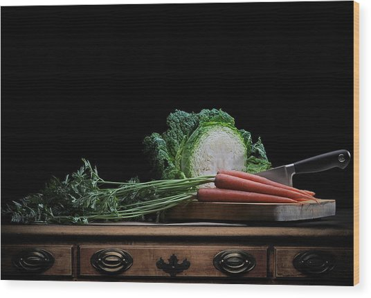 Cabbage And Carrots Wood Print
