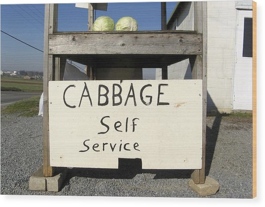Cabbage Self Service Wood Print