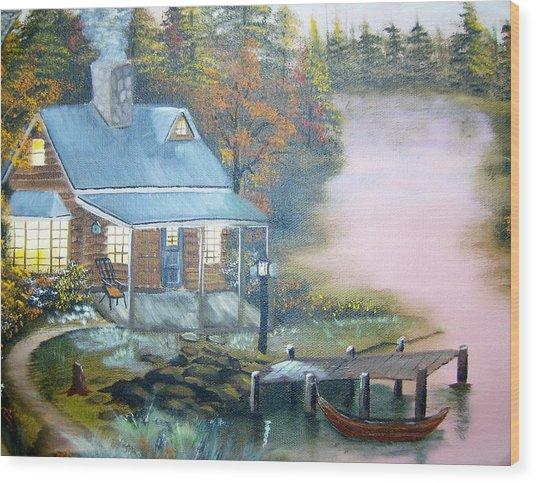Cabin At The Lake Wood Print
