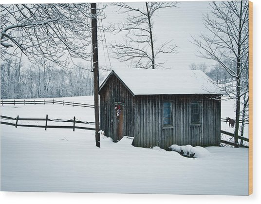 Cabin In Snow Wood Print by Nickaleen Neff