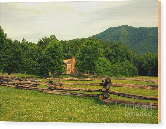 Cabin In The Meadow Wood Print