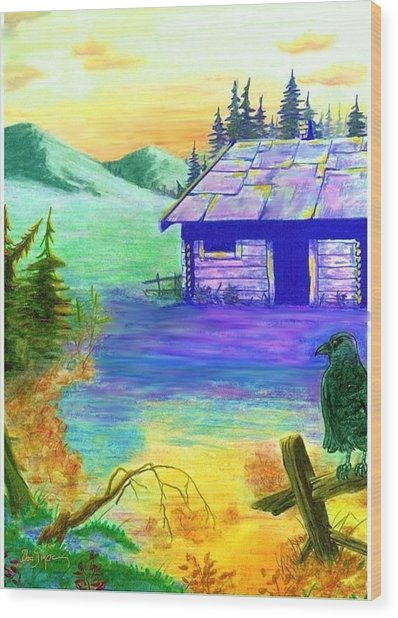 Cabin In The Woods Wood Print by Brad Simpson