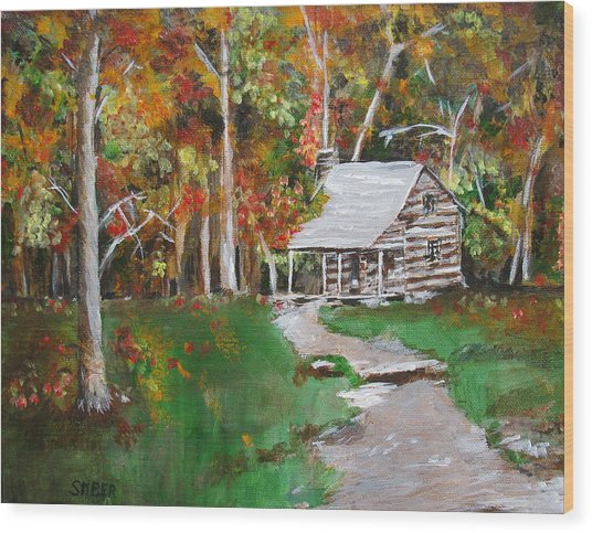 Cabin In The Woods Wood Print