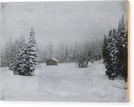 Cabin In The Woods-textured Wood Print
