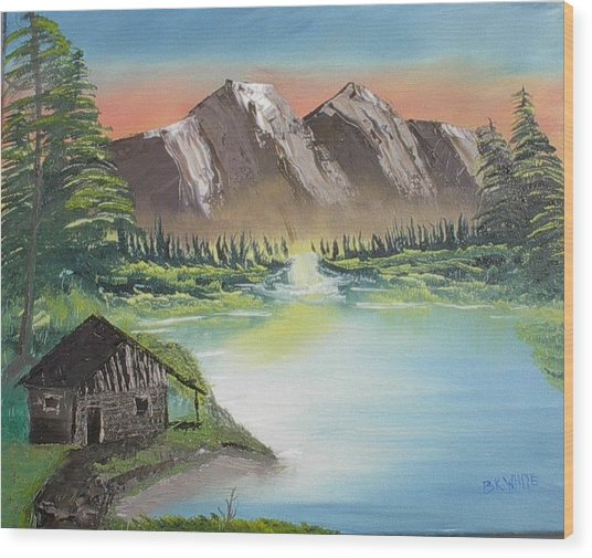Cabin On The Lake Wood Print by Brian White