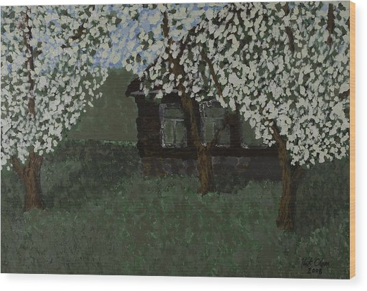 Cabin With Blossoms Woods Spring Wood Print