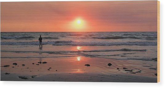 Cable Beach At Sunset With Figure Wood Print
