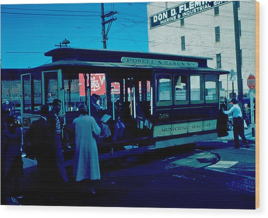 Cable Car 1955 Wood Print by Cumberland Warden
