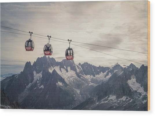 Cable Car In The Alps Wood Print by Buena Vista Images