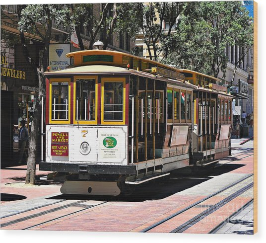 Cable Car - San Francisco Wood Print