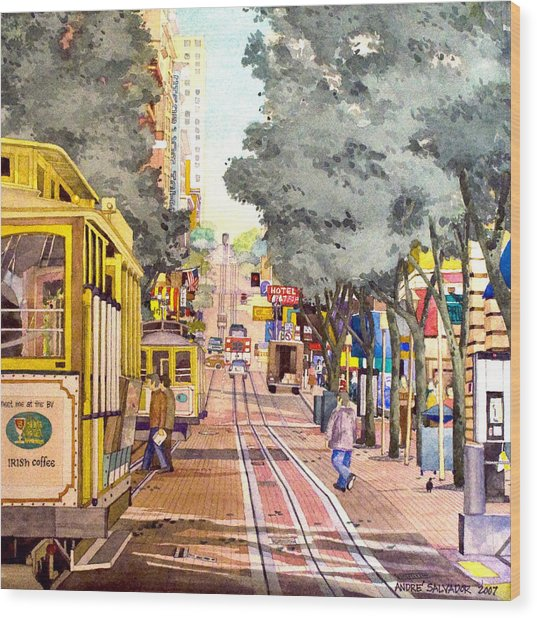 Cable Cars On Powell Street Wood Print
