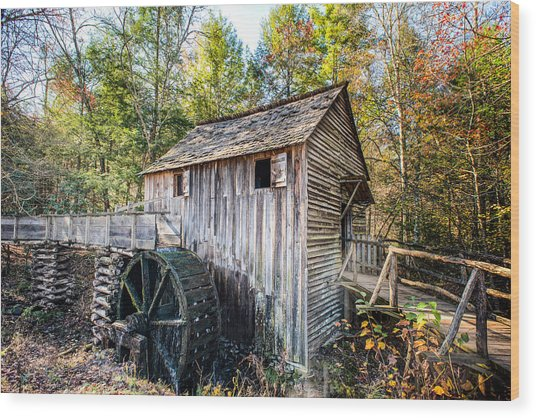 Cable Grist Mill At Cades Cove Wood Print