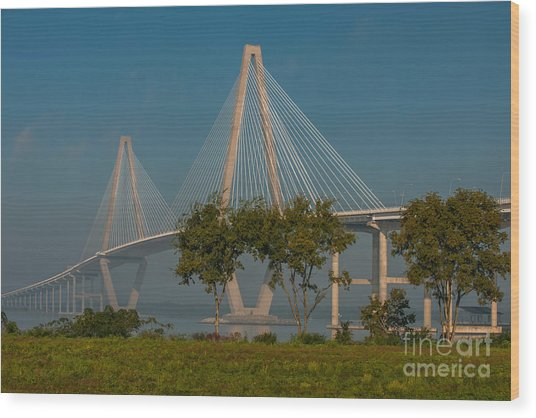 Cable Stayed Bridge Wood Print