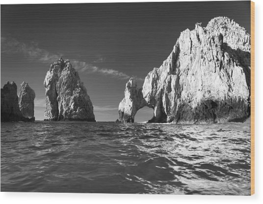 Cabo In Black And White Wood Print