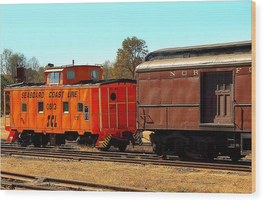 Caboose And Car Wood Print