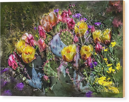 Cacti Flowers Painterly Wood Print by Georgianne Giese