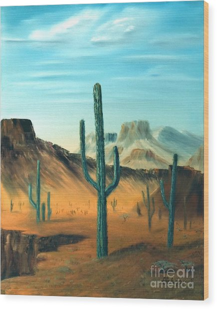Cactus And Mesa Wood Print by Stephen Schaps