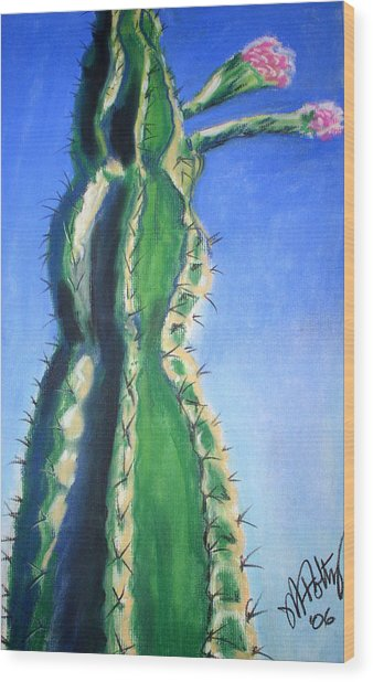 Cactus Bloom Wood Print