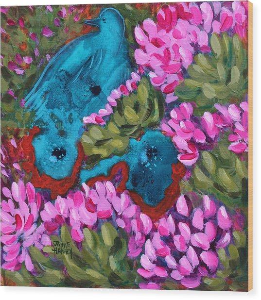 Cactus Flower Blue Bird Dream Wood Print