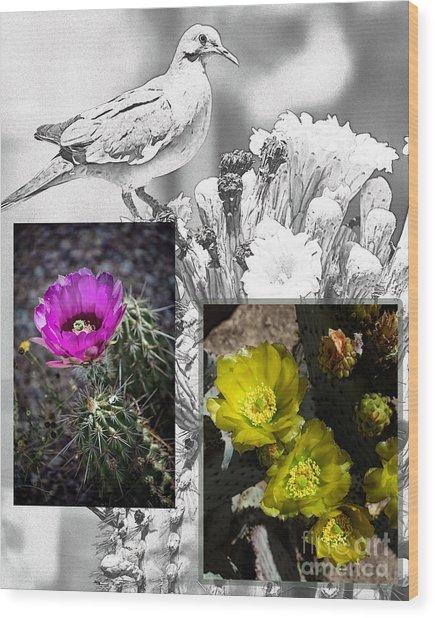 Cactus Flowers 01 Wood Print by David Mendoza