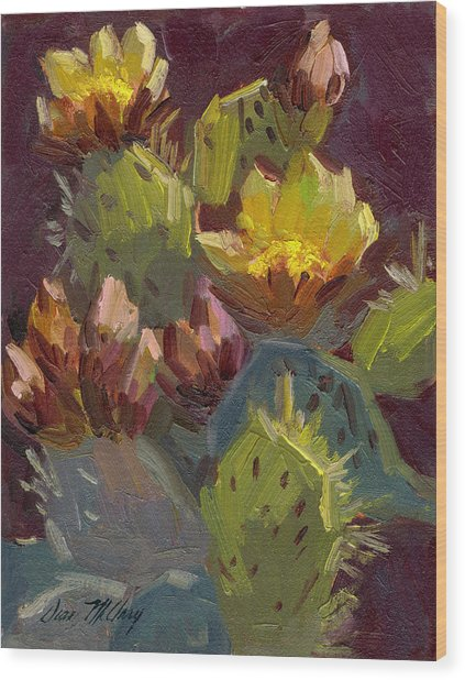 Cactus In Bloom 1 Wood Print