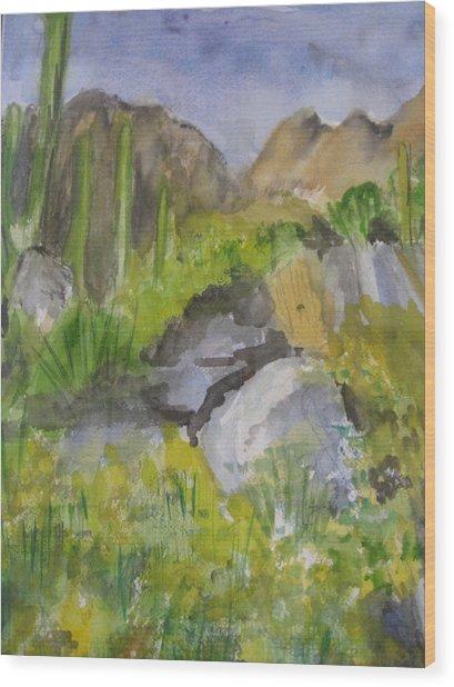 Cactus In Scottsdale Wood Print
