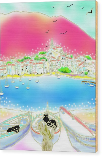 Wood Print featuring the digital art Cadaques Cats by Hisayo Ohta