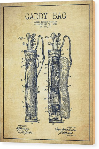 Caddy Bag Patent Drawing From 1905 - Vintage Wood Print