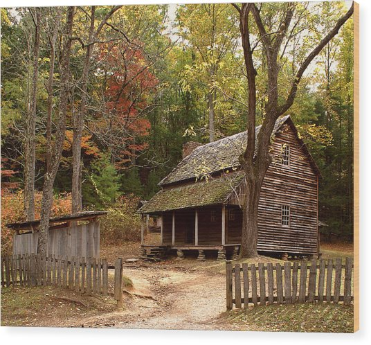 Cades Cove Mountain Home Wood Print