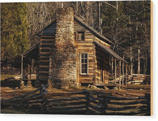 Cades Cove Oliver's Cabin Wood Print