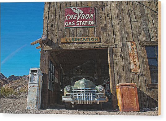 Wood Print featuring the photograph Cadillac In A Chevron Station 5 by James Sage