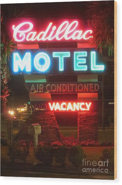 Cadillac Motel Wood Print
