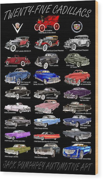 25 Cadillacs In A Poster  Wood Print