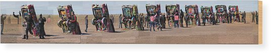Cadillac Ranch Horizon Wood Print