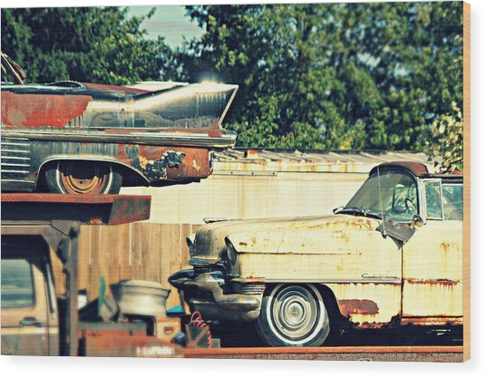 Cadillacs In Decay Wood Print
