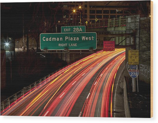 Cadman Plaza Night Wood Print