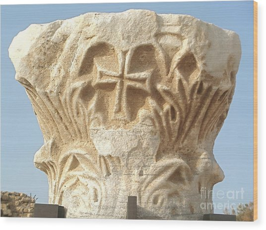 Caesarea Israel Ancient Roman Marble Carving  Wood Print by Robert Birkenes