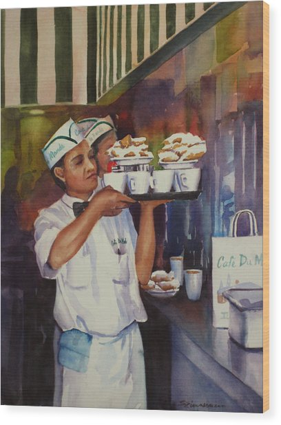 Cafe Du Monde Wood Print by Sue Zimmermann