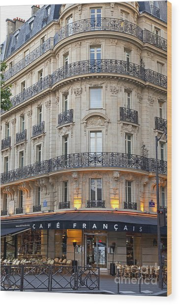 Wood Print featuring the photograph Cafe Francais by Brian Jannsen