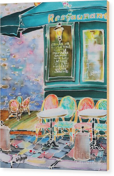 Cafe In Montmartre Wood Print