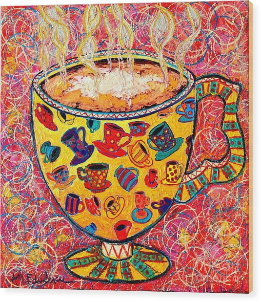 Cafe Latte - Coffee Cup With Colorful Coffee Cups Some Pink And Bubbles  Wood Print