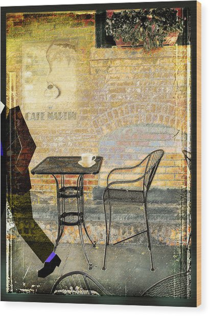 Cafe Martin Wood Print