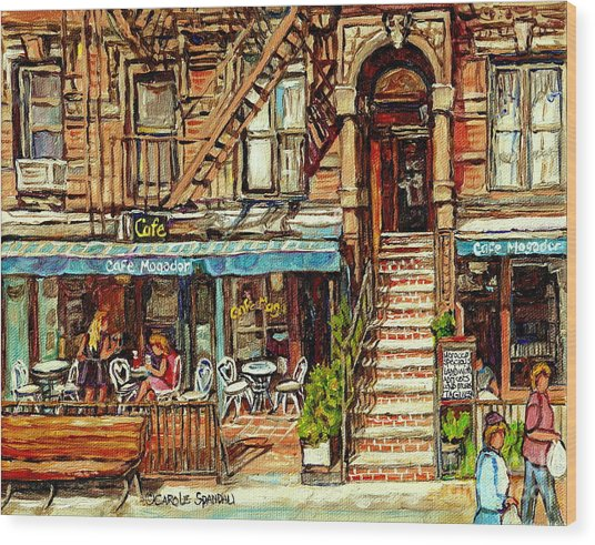 Cafe Mogador Moroccan Mediterranean Cuisine New York Paintings East Village Storefronts Street Scene Wood Print