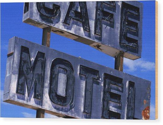 Cafe Motel Wood Print