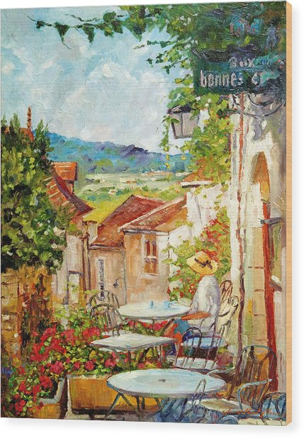 Cafe Provence Morning Wood Print