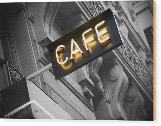 Cafe Sign Wood Print