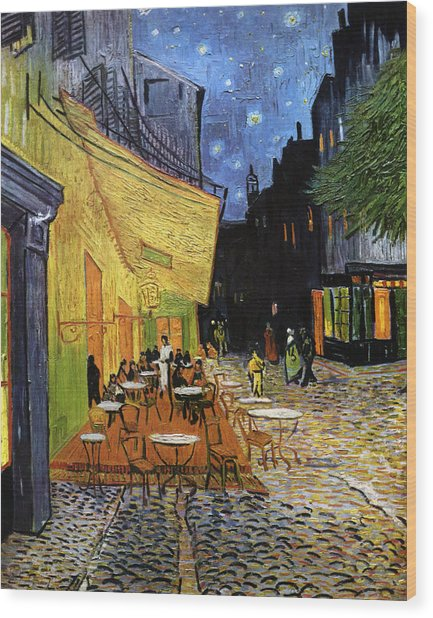 Cafe Terrace At Night Reproduction Art Work Wood Print